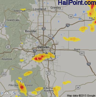 Hail Map For Denver Co Region On July 24 2018