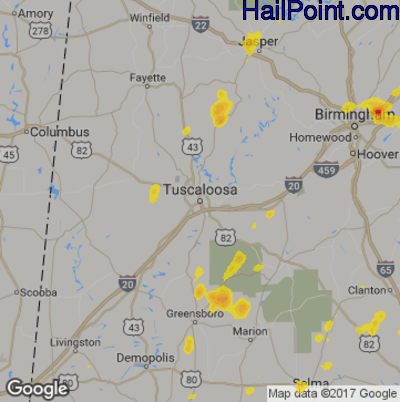 Tuscaloosa Al Zip Code Map.Hail Point Maps