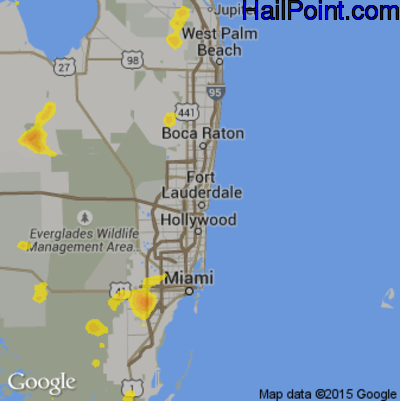 Fort Lauderdale Map Florida.Hail Map For Fort Lauderdale Fl Region On August 9 2018