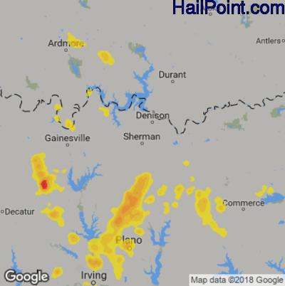 Hail Map for Sherman, TX Region on August 18, 2018