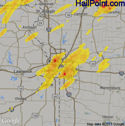 Hail Map for Kansas City, MO Region on August 28, 2018