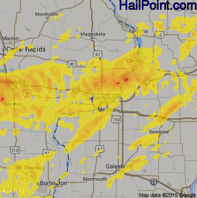 Hail Map For Davenport Ia Region On August 28 2018