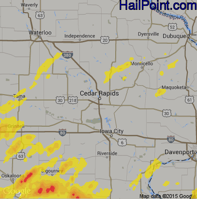 Hail Map for Cedar Rapids, IA Region on September 2, 2018 Cedar Rapids Iowa Map on