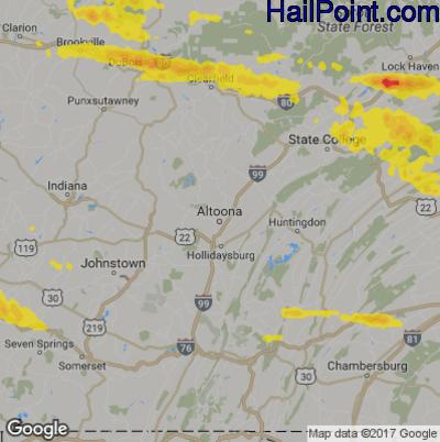Hail Map for Altoona, PA Region on October 2, 2018