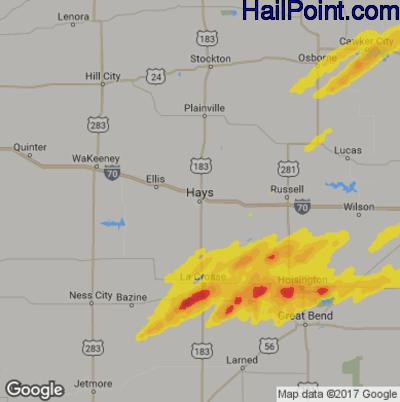 Hail Map for Hays, KS Region on October 5, 2018
