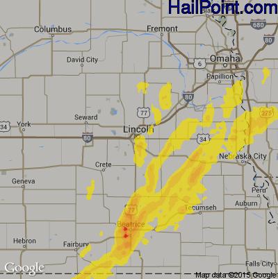 Hail Map for Lincoln, NE Region on April 11, 2019