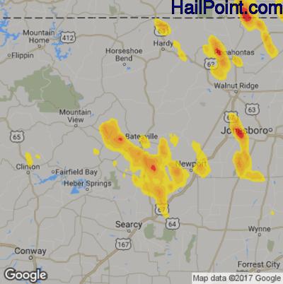Hail Map for Batestville, AR Region on May 15, 2019