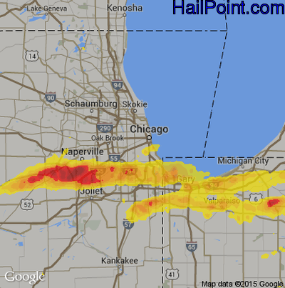 Hail Map for Chicago, IL Region on May 27, 2019