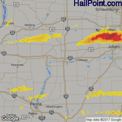 Hail Map for Peru, IL Region on May 27, 2019