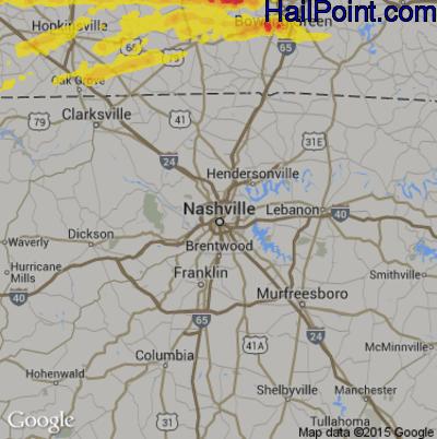 Hail Map for Nashville, TN Region on May 29, 2019