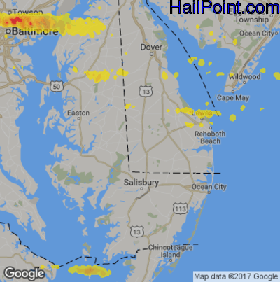 Hail Map for Seaford, DE Region on May 29, 2019