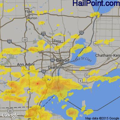 Hail Map for Detroit, MI Region on June 1, 2019 Detroit Map Google on