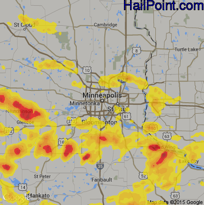 Hail Map for Minneapolis, MN Region on June 4, 2019