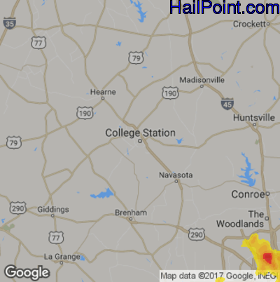 Map Of Texas College Station.Hail Map For College Station Tx Region On June 28 2019