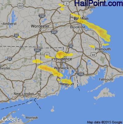 Hail Map for Providence, RI Region on June 29, 2019