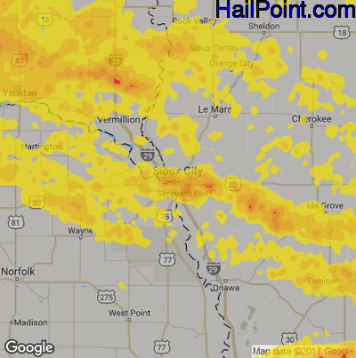 Hail Map for Sioux City, IA Region on July 17, 2019