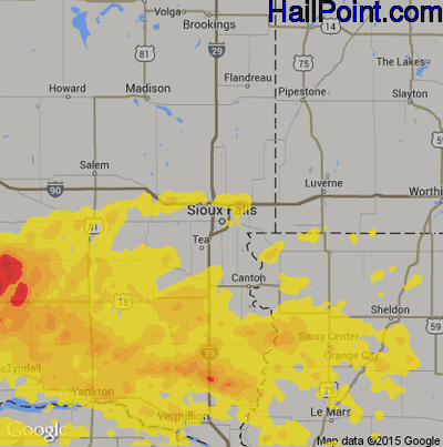 Hail Map for Sioux Falls, SD Region on July 17, 2019