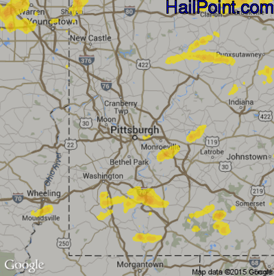 Hail Map for Pittsburgh, PA Region on August 18, 2019