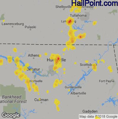 Hail Map for Huntsville, AL Region on September 10, 2019