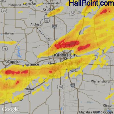 Hail Map for Kansas City, KS Region on September 27, 2019