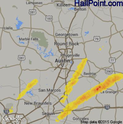 Hail Map for Austin, TX Region on October 20, 2019