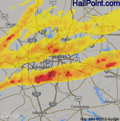 Hail Map for Dallas, TX Region on October 21, 2019