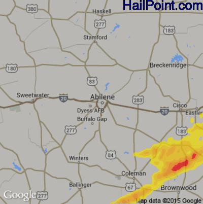 Hail Map for Abilene, TX Region on October 21, 2019