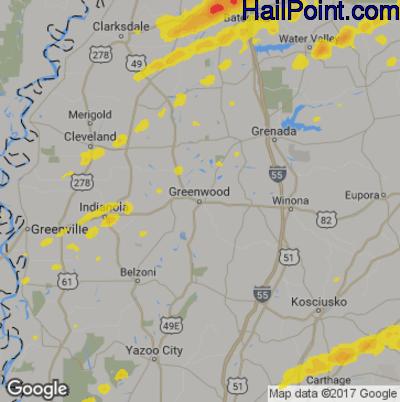 Hail Map for Greenwood, MS Region on November 30, 2019