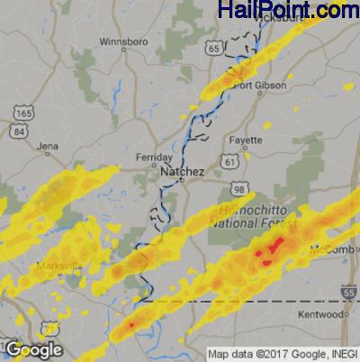 Hail Map for Natchez, MS Region on December 16, 2019