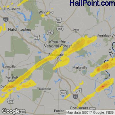 Hail Map for Alexandria, LA Region on December 16, 2019