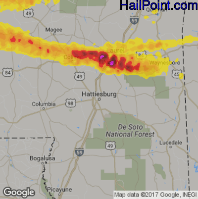 Hail Map for Hattiesburg, MS Region on March 4, 2020