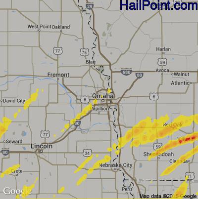 Hail Map for Omaha, NE Region on March 19, 2020