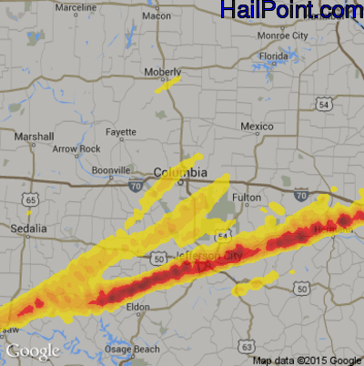 Hail Map for Columbia, MO Region on March 28, 2020