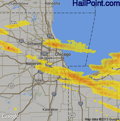 Hail Map for Chicago, IL Region on April 7, 2020