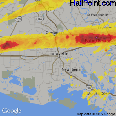 Hail Map for Lafayette, LA Region on April 22, 2020