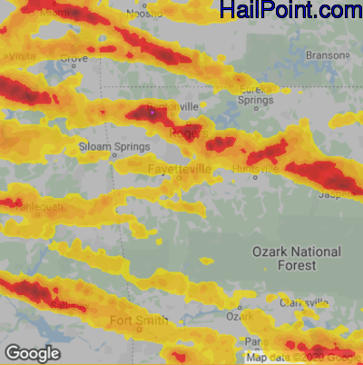 Hail Map for Fayetteville, AR Region on May 4, 2020