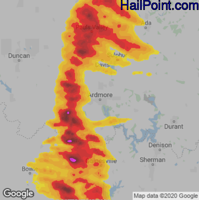 Hail Map for Ardmore, OK Region on May 4, 2020