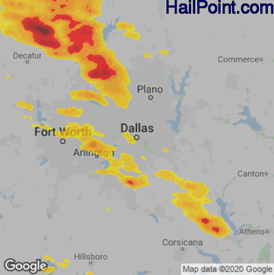 Hail Map for Dallas, TX Region on May 5, 2020