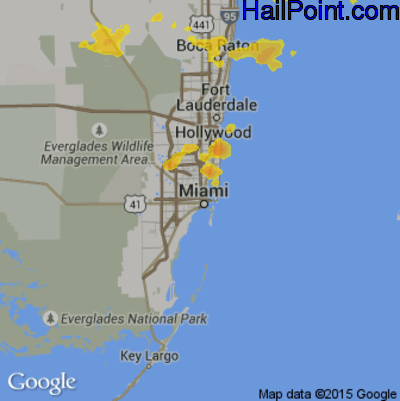Hail Map for Miami, FL Region on May 20, 2020