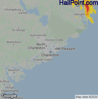 Hail Map for Charleston, SC Region on June 20, 2020