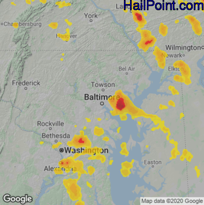 Hail Map for Baltimore, MD Region on July 6, 2020