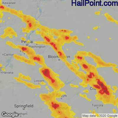 Hail Map for Bloomington, IL Region on July 11, 2020