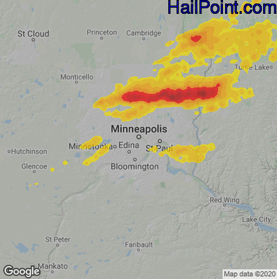 Hail Map for Minneapolis, MN Region on July 18, 2020