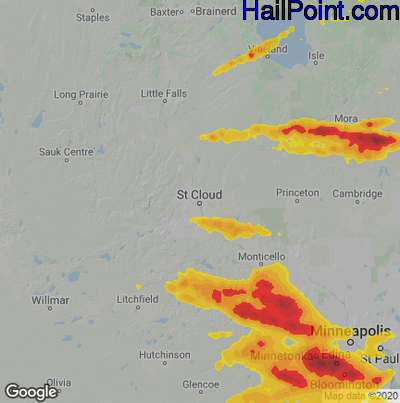 Hail Map for St Cloud, MN Region on August 10, 2020