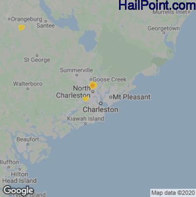 Hail Map for Charleston, SC Region on August 19, 2020
