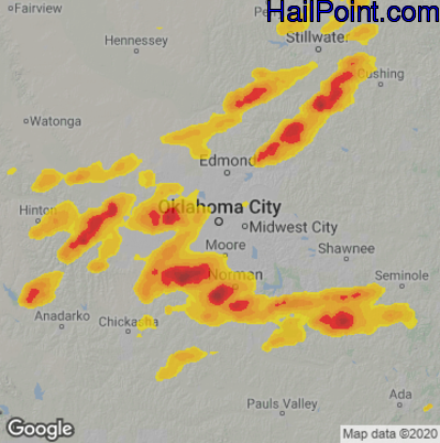 Hail Map for Oklahoma City, OK Region on August 31, 2020