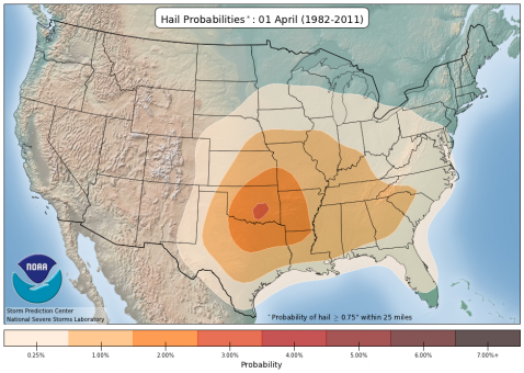 Hail Climatology Probabilities for April 1st